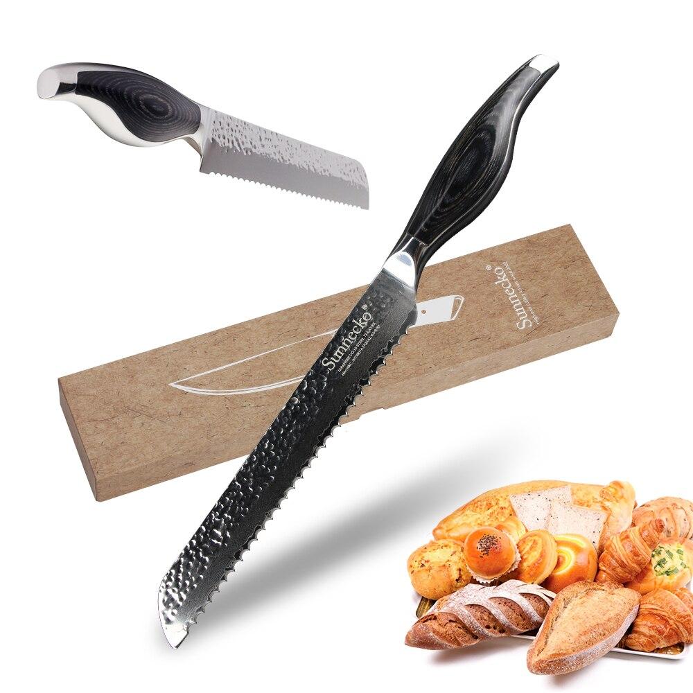 """Sunnecko 8 """"pouces pain Chef couteau couteaux de cuisine japonais damas acier 60HRC rasoir Sharp Pakka manche en bois cuire outils de coupe"""