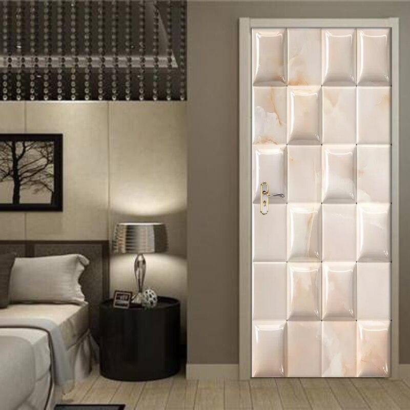 Door Sticker 3D Solid Geometry Marble Wallpaper PVC Waterproof Self-adhesive Living Room  Door Decor Decals Detachable 3D Mural