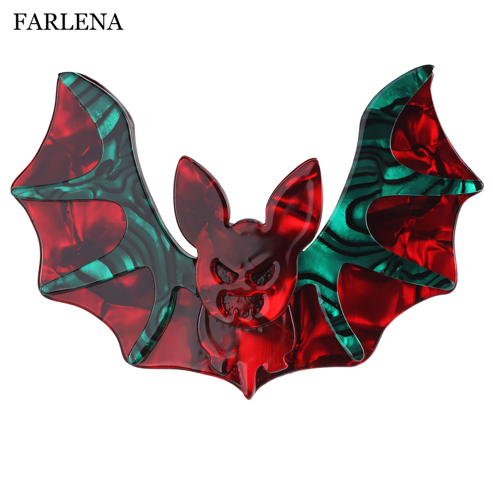 FARLENA Jewelry Stitching Graphics Acetate Resin Bat Brooches Pins for Women Fashion Acrylic Animal Brooch