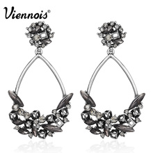 Viennois Vintage Silver Color Big Water Drop Shaped Earrings for Women Multiple Crystals Rhinestone Dangle Earring Retro Jewelry