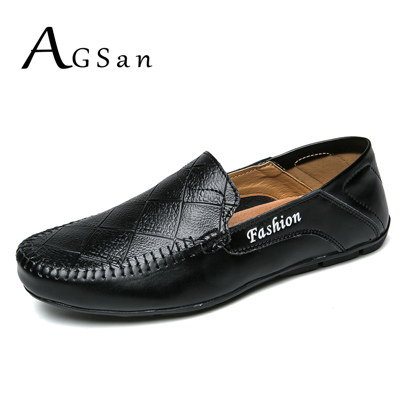 AGSan Men Loafers Handmade Split Leather Casual Shoes Mens 2018 Spring Classic Driving Shoes Big Size 38-47 11 10 Moccasins pl us size 38 47 handmade genuine leather mens shoes casual men loafers fashion breathable driving shoes slip on moccasins