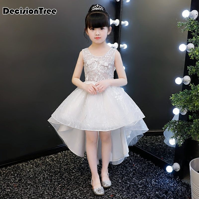 2019 new luxury lace flower girl dresses floral hi lo kids prom wedding dress ball gown pearls girl pageant frocks