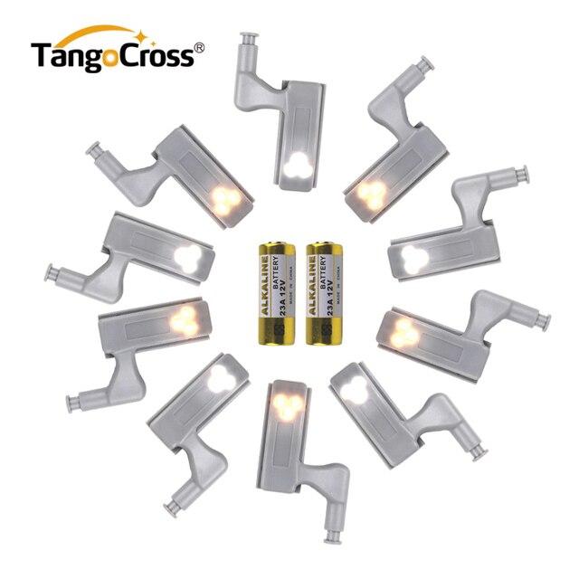 10pcs Universal LED Under Cabinet Light Cupboard Inner Hinge Lamp Closet Wardrobe Sensor Light Home Cocina Kitchen Night Light