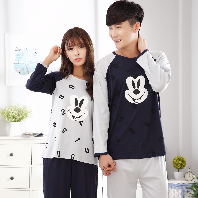 Lovers Sleepwear Cotton Lovely Adult Pajamas casual tracksuit for women Cartoon Mickey Pattern plus size M-XXXL 4XL Pyjamas men ...