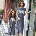 Мода мама и дети семья соответствующие наряды Новорожденных Девочек жилет платье случайные хлопка мать дочь Дети clothing DQ244