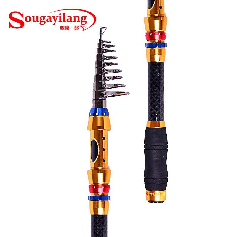 Sougayilang portable carbon fiber telescopic fishing rods for Travel fishing pole