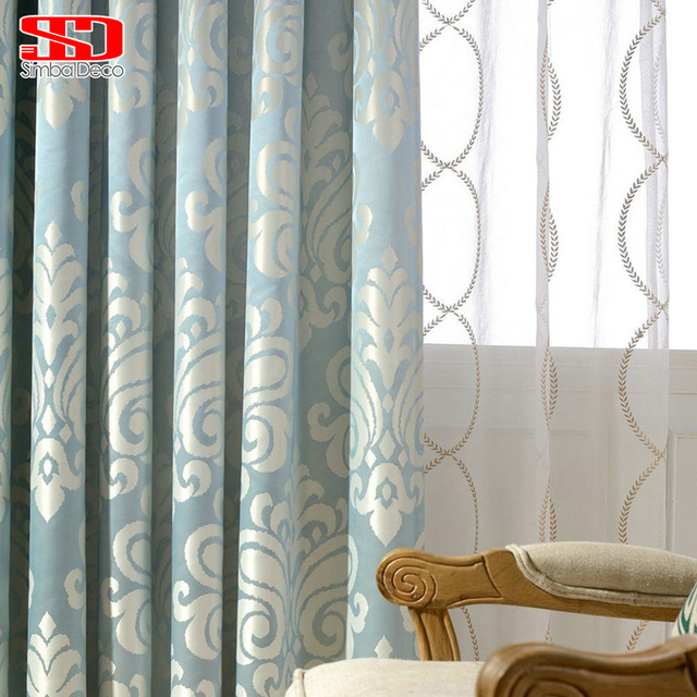 Luxury Blue Blackout Curtains For Living Room Jacquard Drape For
