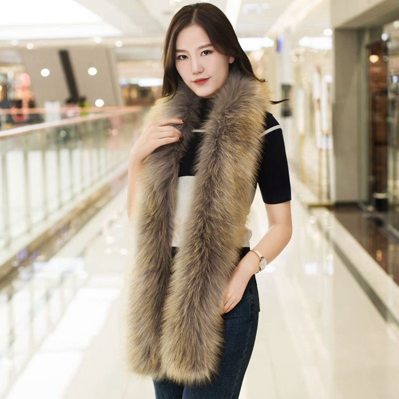 <font><b>B</b></font> <font><b>180</b></font> cm Long New winter women faux rabbit fur scarf soft faux fur collar fur muffler Artificial raccoon faux fox fur scarf image