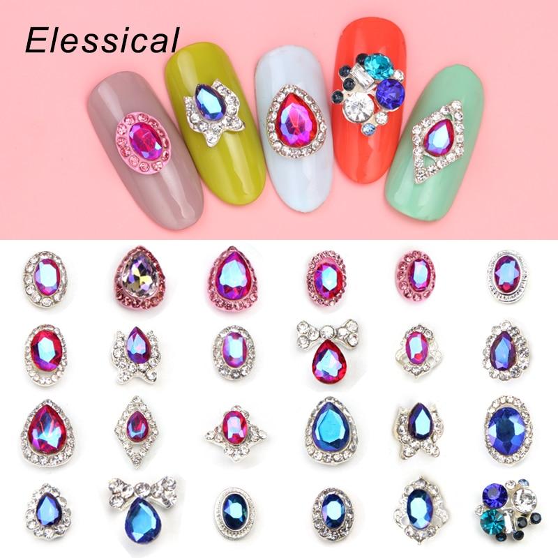 10Pcs/lot Glitter Rhinestone Nail Design Top Crystal Drill Nail ...