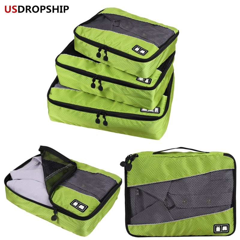 USDROPSHIP Travel Luggage Organizer 3Pieces Packing Cubes Set Breathable Mesh Travel Bag Waterproof Packing Travel Accessories ...