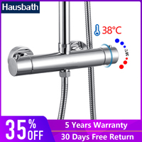 Thermostatic Bath Shower Faucet Mixer Tap Ceramic Valve Wall Mounted Dual Hole Bath Shower Set Bathroom Temperature Controller