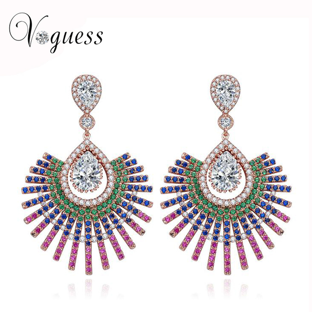 VOGUESS Trendy Luxury Crystal Flower Earrings For Women New Fashion Elegant Gold Plated Zircon Earrings with Jewelry Box