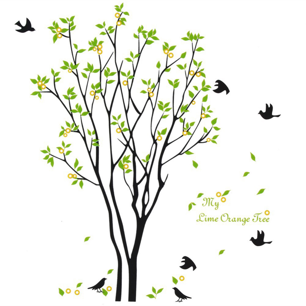 1pcs my lime orange tree flying birds aorund removable pvc wall 1pcs my lime orange tree flying birds aorund removable pvc wall stickers creative home decoration beautiful fancy gorgeous decal in wall stickers from home