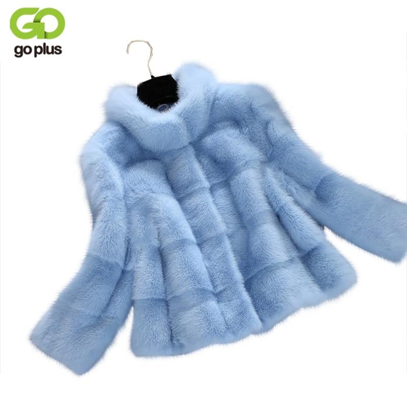 GOPLUS Winter Spring Faux Fur Coat Ladies Light Blue Semi high Collar Artificial Fur Coats Women