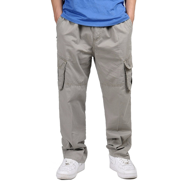 f431e2bef 5xl 6xl Plus size big Men s Cargo Pant Casual Men Elastic waist  Multi-Pocket Overall Male Combat Long baggy large Trouser 421