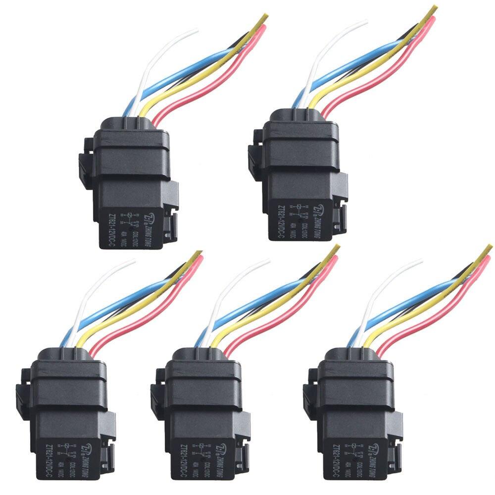 EE Support 5 Pcs Car Auto Heavy Duty 12V 40A SPDT Relay Socket - Heavy Duty 5 Pin Relay