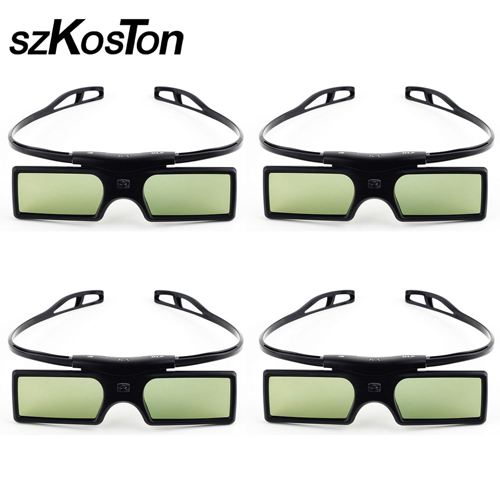 4pcs 3D Glasses Active Shutter for Optoma Sharp LG Acer BenQ Acer Dell Vivitek G15-DLP DLP-LINK DLP Link Projectors