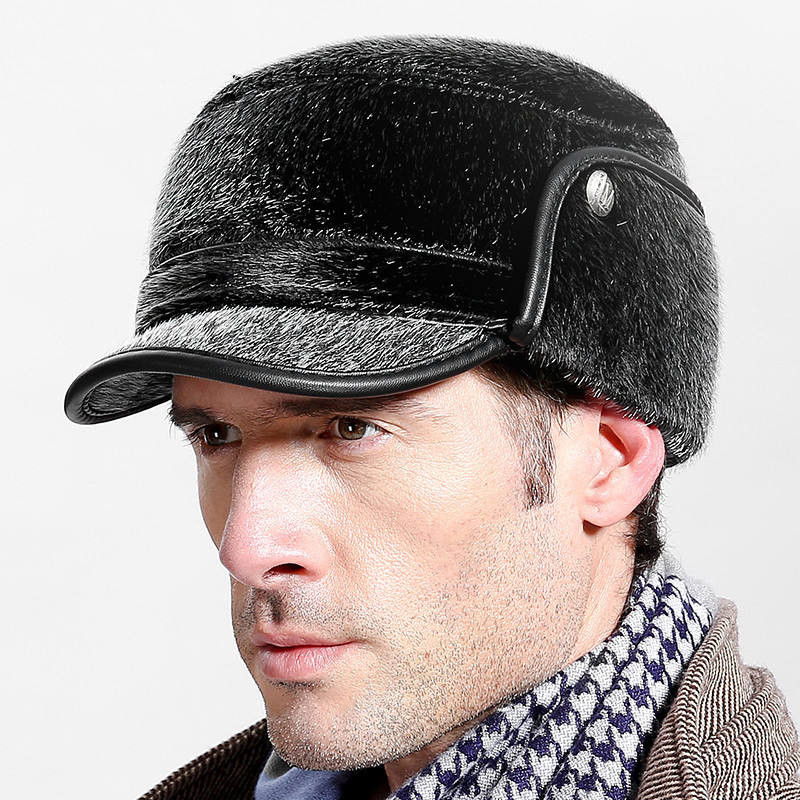 a7b71fe358b High quality men s winter hat warm ear protection plus velvet thick middle  aged elderly leather baseball cap-in Baseball Caps from Men s Clothing ...