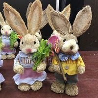 2pcs/lot.Multi colored Easter gifts, foreign trade forests, straw rabbit ornaments, wedding window ornaments
