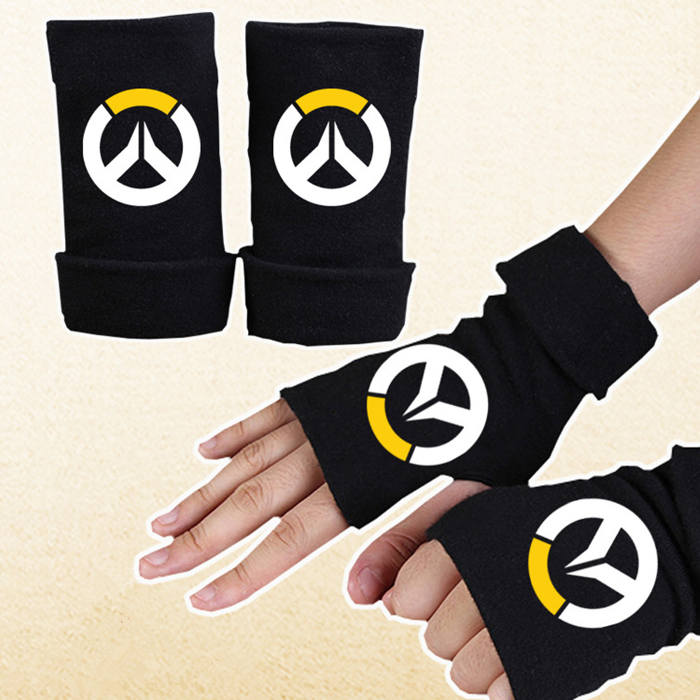 Fashion Protection Gloves Pure Color Couple Warm Half Finger Gloves Anime Cosplay Personality Printed Keyboard Cotton Gloves