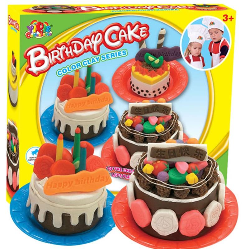 Kids Gift Play Doh Play Dough Mold Set Happy Birthday Cake Mode Soft Clay Plasticine Toys Non Toxic Mold Tool Set Diy Toys Toy Tool Tool Mounttoy Reptiles Aliexpress