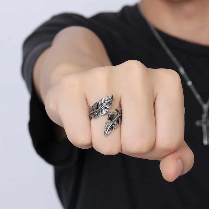 Vnox Винтаж Перо кольцо Для мужчин Jewelry Нержавеющая сталь Байкер Стиль ручной полировки нам Размеры 7 8 9 10 11 12