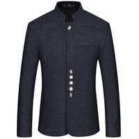 JZ CHIEF Men's Blazers And Suit Jackets Chinese Style Mandarin Collar Casual Blazer Slim Fit Button Suit for Wedding Jacket Male