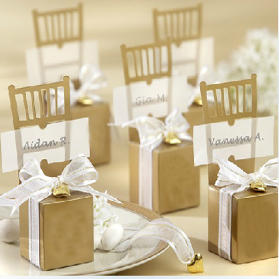 Luxury Wedding Candy Box With Pendant Golden Chair Wedding Favors