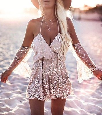 2020 New Women Ladies Sexy V-neck Halter Off Shoulder High Waist Lace Lace-up Flare Sleeve Playsuit Summer Beach Party Jumpsuit