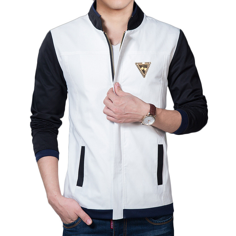 New White Jacket Men 2015 Fashion Design Black Sleeve Patchwork Mens Slim  Fit Cotton Zipper Jacket Brand Stylish Jacket For Fall 8f4f7971f5d3