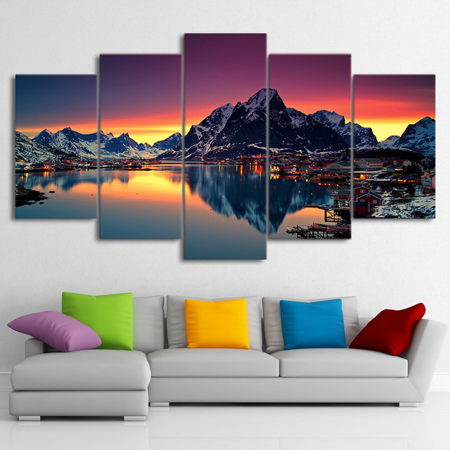 5 Pieces Aurora The Country Of The Island Paintings HD Prints Reine Norway Lake Poster Home Decor Canvas Modular Pictures Frames