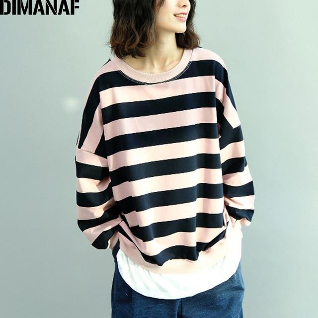 DIMANAF Women Sweatshirts Autumn Cotton Thinken Striped Fashion Spliced Femme Long Sleeve Pullovers Tops Loose Plus Size Shirt