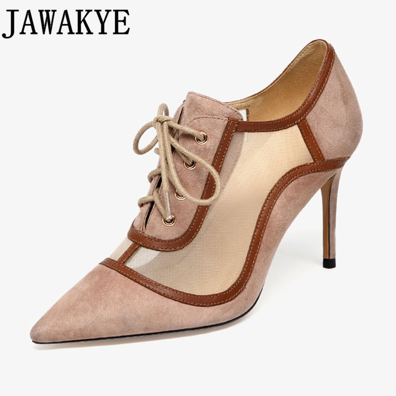 Spring summer pumps women air mesh lace up high heels shoes sexy office pointed toe stilettos shoes real picture sandals Spring summer pumps women air mesh lace up high heels shoes sexy office pointed toe stilettos shoes real picture sandals