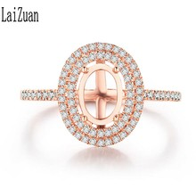 LaiZuan 0.3CT Double Halo Diamonds Engagement Wedding Ring Solid 10K Rose Gold Oval Cut 7x5mm Semi Mount Ring Party Fine Jewelry(China)