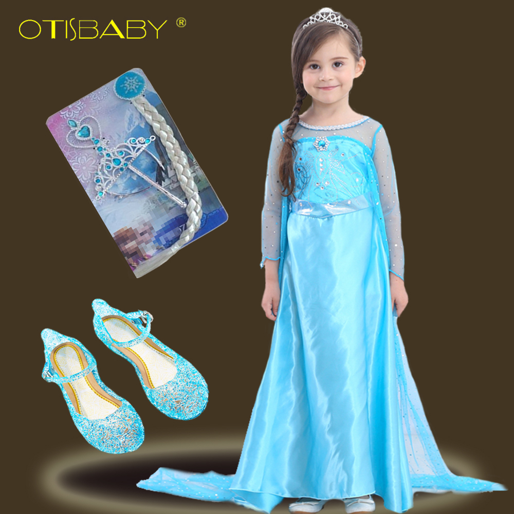 New year elsa anna princess dresses for girls children clothing long cloak baby girl snow queen dress crown magic stick gold wig
