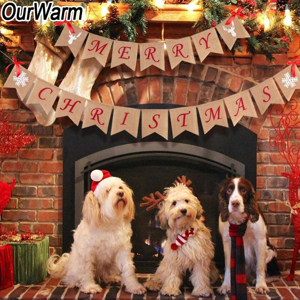 OurWarm Weihnachten Sackleinen Banner Stoff Bunting Fahnen Girlande Candy Bar Weihnachten Dekoration Frohe Weihnachten Home Neue Jahr 2018