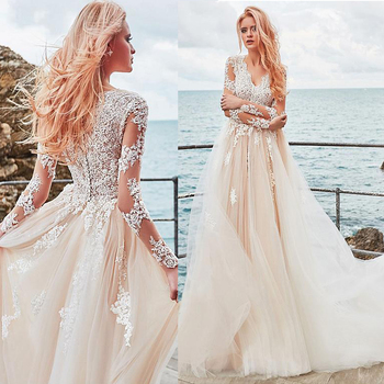 Exquisite Tulle V-neck Neckline A-line Wedding Dress With Lace Appliques Elegant Tulle Nude Long Sleeves Bridal Gowns
