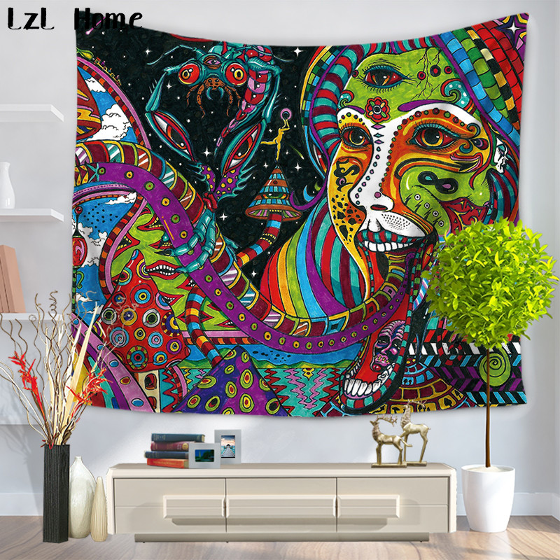 LzL Home Colourful Face Oil Painting Mandala Tapestry Gypsy Hippie Wall Hanging Dorm Cover Bedspread Yoga Mat Moroccan Decor