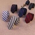 Mantieqingway Marca Terno de Negócio dos homens Empate Magro 5 cm Gravata poliéster Laços De Seda para Homens Listrado & Plaid Impresso Floral gravata