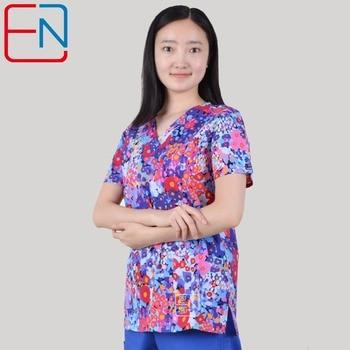 new 201803 hennar brand medical scrub tops surgical scrubsscrub uniform 100 print cotton christmas design medical uniforms