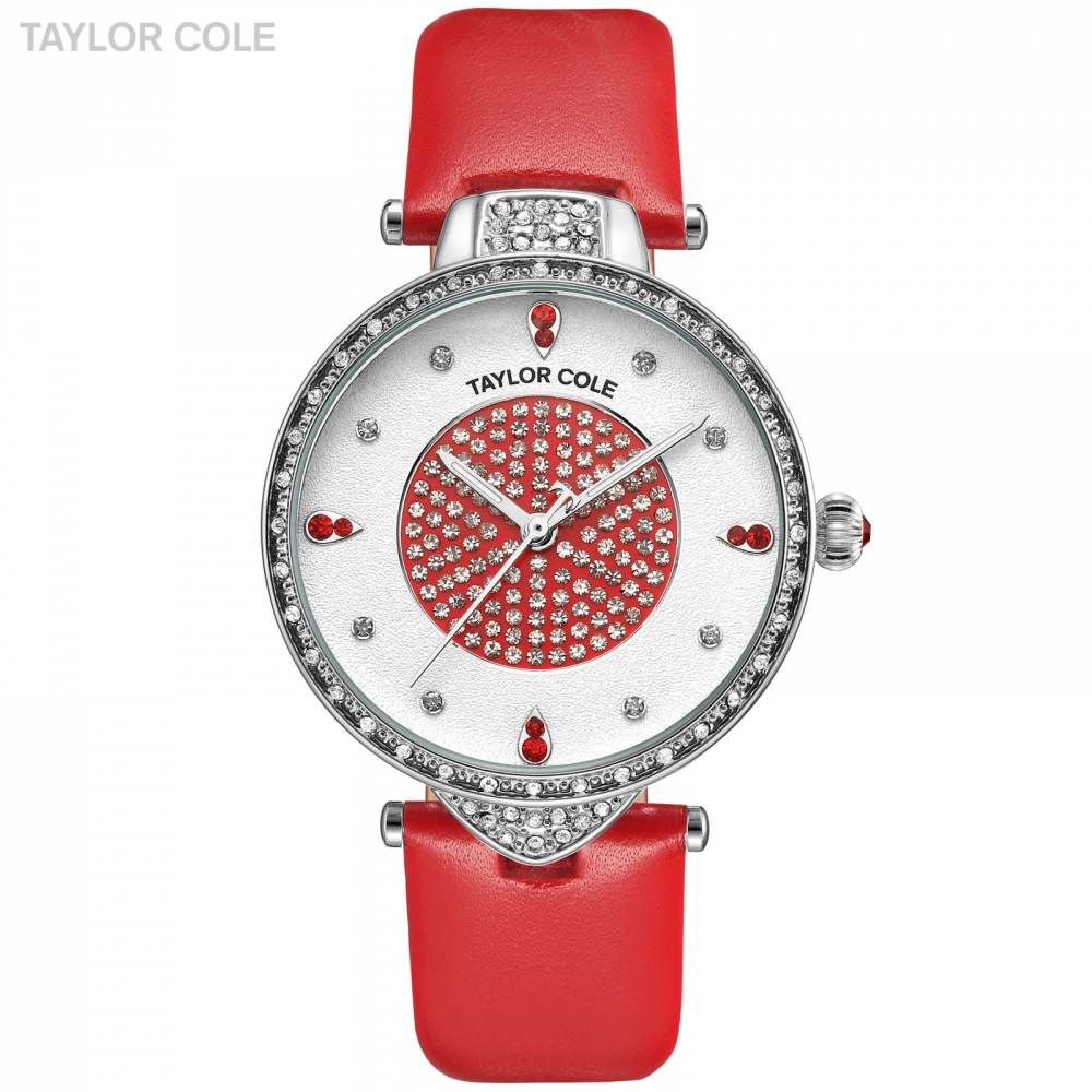 Taylor Cole Ladies Women Watches Clock Silver Case White Dial Big Red Genuine Leather Band Relojes Para Mujer Dress Watch /TC111 taylor cole relogio tc013