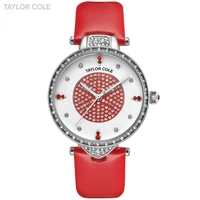 Taylor Cole Ladies Women Watches Clock Silver Case White Dial Big Red Genuine Leather Band Relojes Para Mujer Dress Watch /TC111