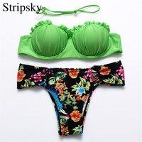Stripsky Sexy Brazilian Bikini Set Women Swimsuit Push Up Bathing Suit Bandeau Bikini Halter Top Swimwear