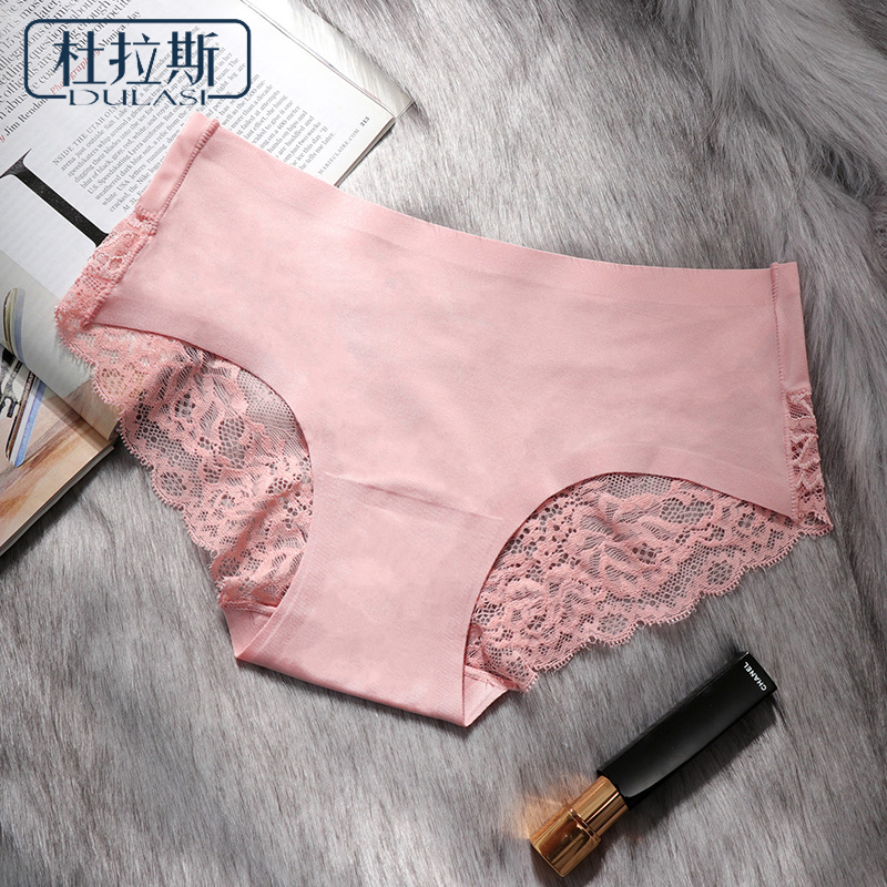 DULASI Sexy Seamless Panties Ice Silk Women Underwear Cotton Crotch Mid-Rise  Briefs For Girls Bikini Lace Lingeries  1 Pcs