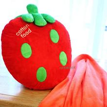 Cute strawberry  pillow blanket and  air conditioning blanket  in cars  or travelling  gifts  for girls