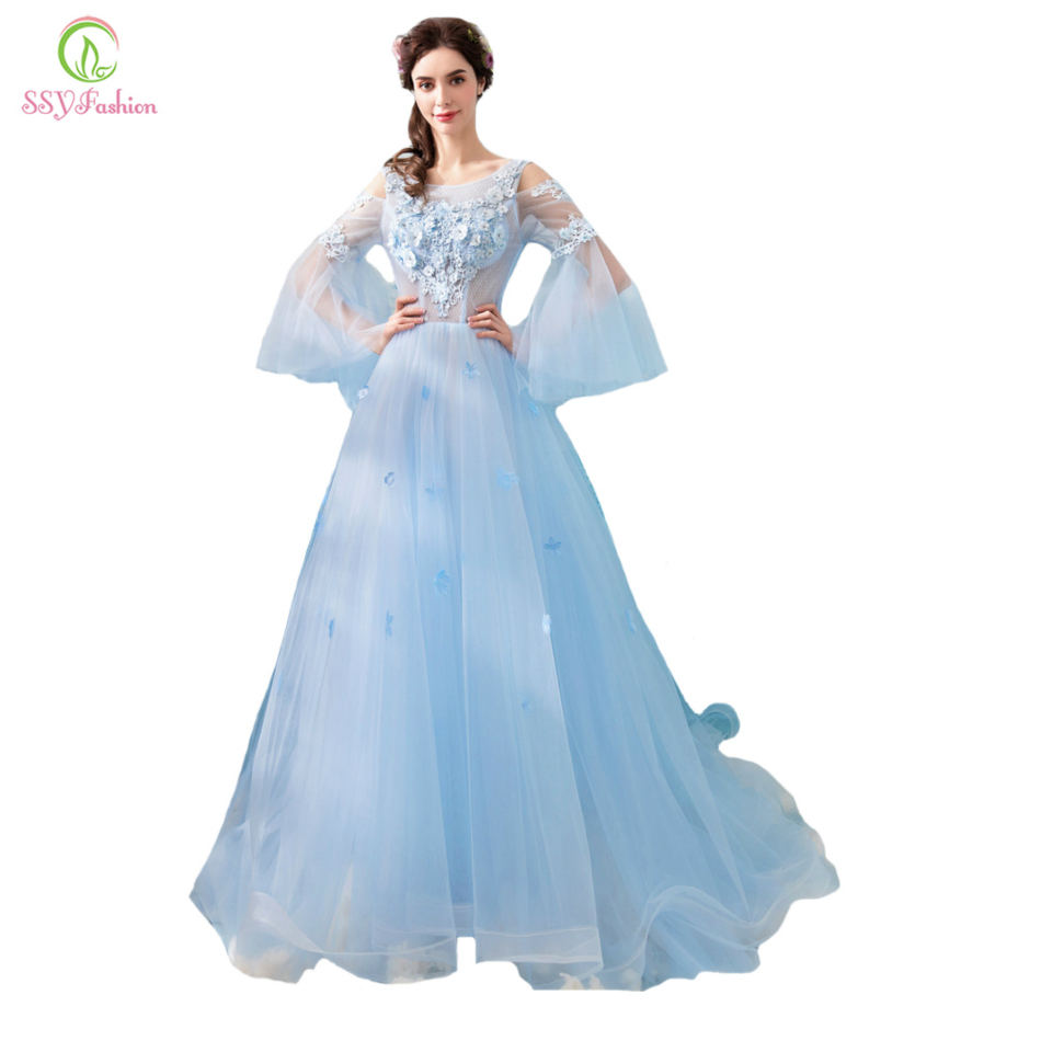 SSYFashion New Lace   Evening     Dress   Fresh Light Blue Fairy Flower Appliques Trumpet Sleeves Sweep Train Prom Party Formal Gown