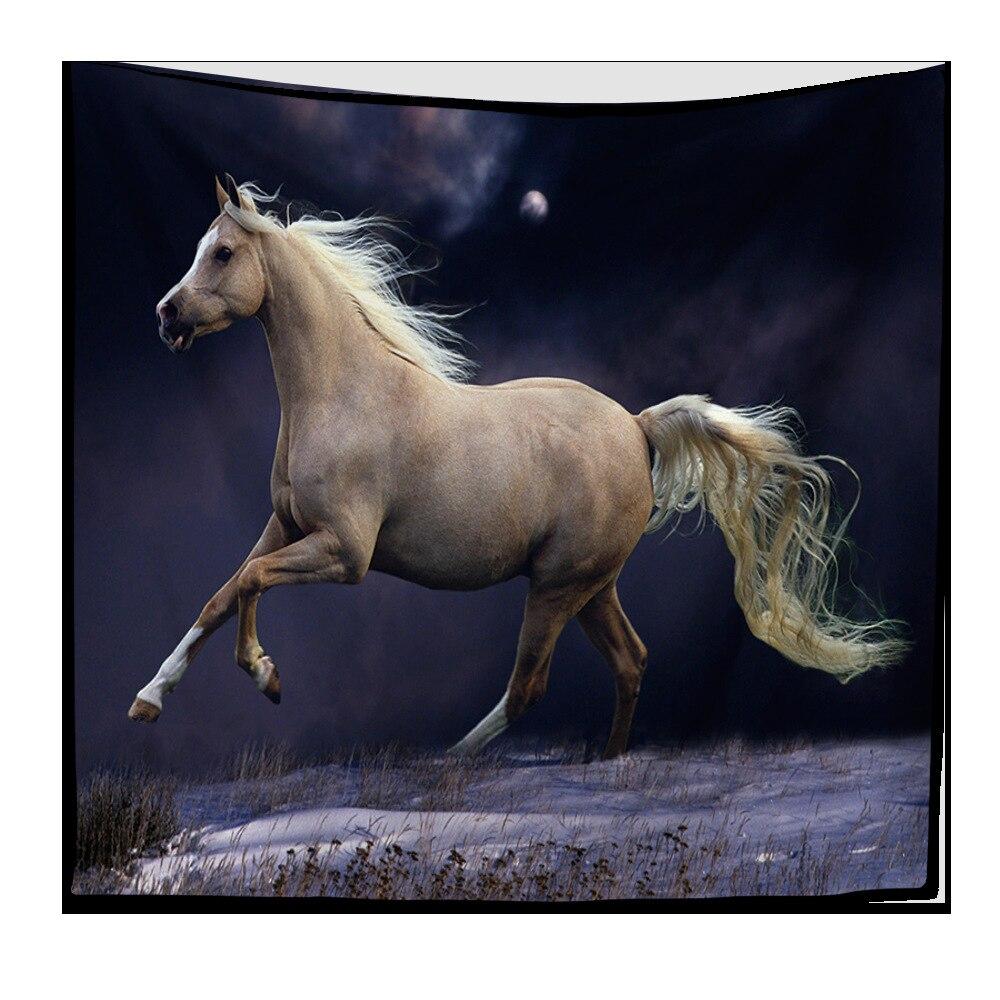 Mode Polyester Impression Tapisserie Bannière Nappe Natte De Plage 13 Modèles Cheval Style Nordique Mur Pendaison Décor À La Maison