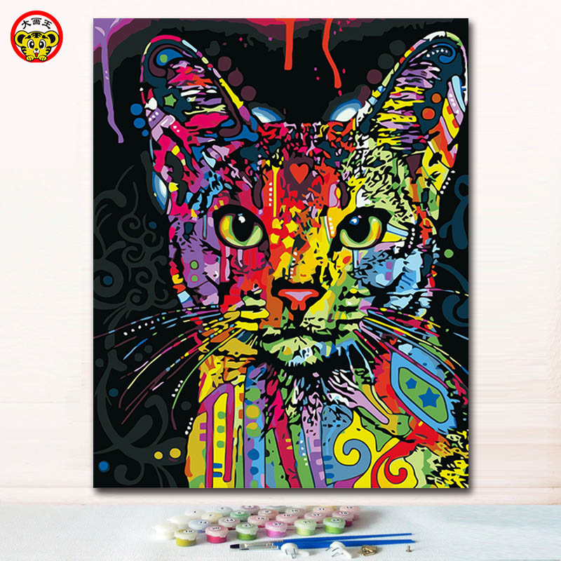 Colorful watercolor cat head animal painting pictures by ...