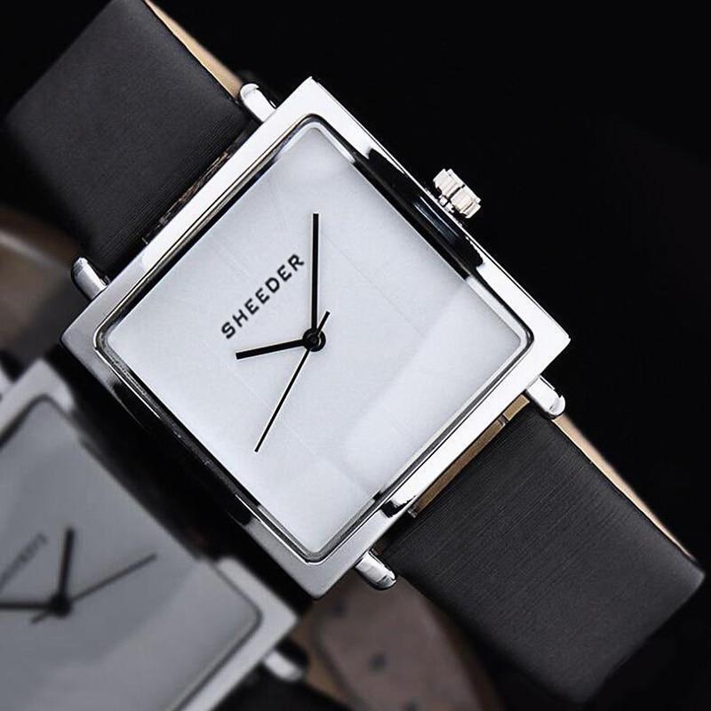 Women Square Fashion Casual Watch Lady Simple Wristwatch Leather Clock Japanese Quartz Montres Unique Relogio Masculino