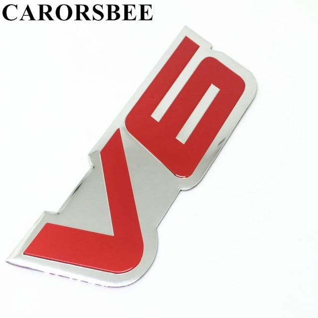 Carorsbee 3d Aluminium V6 Logo Auto Sticker V 6 Motor Teken Chrome